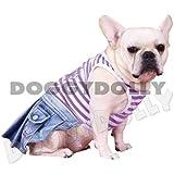 Doggydolly Bully Jeanskleid für Mops und Bulldogge Beauty lila