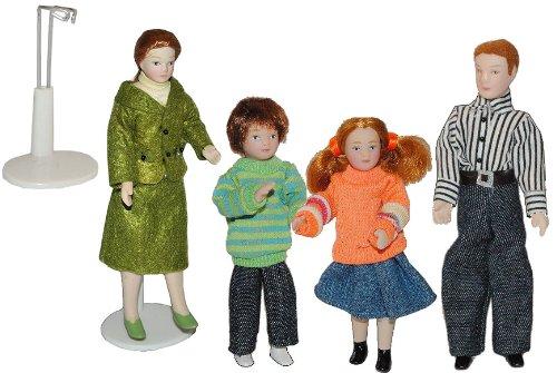 alles-meine.de GmbH Familie Puppe für Puppenstube Maßstab 1:12 - Porzellan Puppen mit echten Haaren - Biegepuppen Familie Biegepuppe Nostalgie Porzellanpuppe Puppenhaus