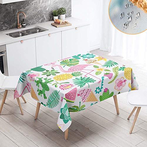 Chickwin Rectangular Mantel para Mesa Impermeable Antimanchas, Flamenco Rosado Moderno Mantel para Cocina Salón Comedor Lavable Resistente Desgaste de Tela de Poliéster (140x180cm,G)