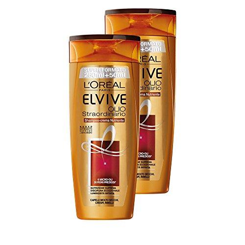 L'Oréal Paris Elvive Huile Extraordinaire shampoo-crema nourrissante pour cheveux très secs ou Crespi, 3 boîtes de 2 x 300 ml, Total : 1800 ml