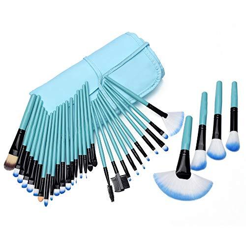 PoplarSun Maquillage Professionnel 32pcs Brosse Fondation Ombres à paupières Poudre Bleu Faire des Outils Pinceaux Trousse de Maquillage Brosses