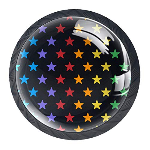 Juego de 4 pomos para armario de cocina de 1,18 pulgadas, botones de cristal para cajones con kit de accesorios para dormitorio, muebles de cocina, diseño de estrellas coloridas con fondo negro