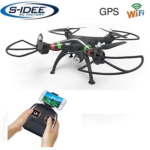 s-idee® 17115 H809W GPS WiFi Rc Drohne HD Kamera FPV RC Quadrocopter Höhenstabilisierung, One Key Return, Coming Home / Headless VR Drohne Funktion 2.4 GHz mit Gyro Drone mit Camera 720p