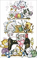 G122 クロスステッチ 刺繍キット 世界のおとぎ話 裁縫猫 14CT 白 38x54cm [並行輸入品]
