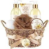 Bath & Shower Spa Basket Gift Set, Warm Vanilla Sugar Scent, with Shower Gel, Bubble Bath,Body Lotion, Bath Bomb,Bath Salt, Bath and Body Gift Box for Women