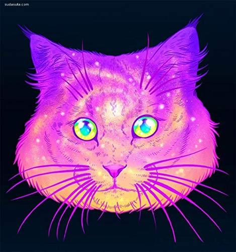 Lamlzzoo DIY 5D Diamantmalerei, nummeriert Suite voller Strasssteine, verwendet bei der Dekoration von Wohnwänden,Lila Farbverlauf Katzenkopf