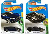 Hot Wheels HW Exotics Tesla Model S (Azul) & Porsche Carrera (Negro) 2-Car Bundle Set