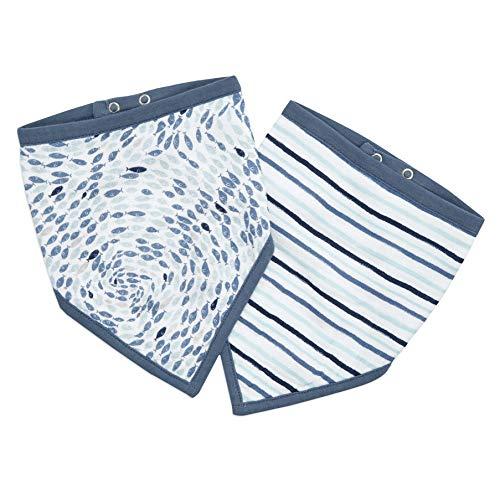 aden + anais™ essentials - Pack de 2 bavoirs bandanas en mousseline 100% coton- Design contemporain - Absorbant - Pour bébés qui font leurs dents - Garçon - Fille - Imprimé Seashore - 21,5 cm x 41 cm