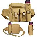 Tactical Waist Bag with Water Bottle Pouch, Waterproof Bum Bag Military Utility Belt Canvas Fanny Pack Bumbag for Trekking Jogging Running