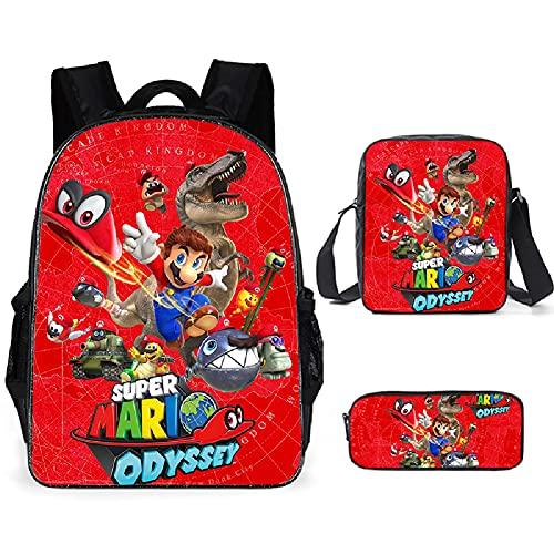 Super Mario School Bag Mochila para niños, adolescentes, niñas, Super Mario Bros, mochila escolar, bolsa de almuerzo, estuche de 3 piezas, 12, large,