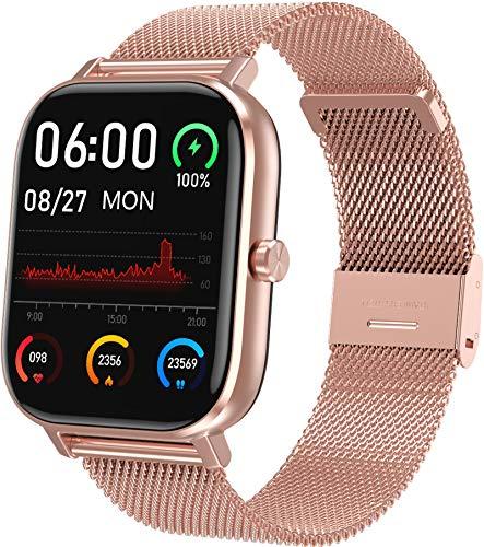 Smartwatch Gold Herren Damen 1,75 Zoll Fitness Tracker Sport Armbanduhr Metallarmband Pulsmesser Schlafanalyse Stoppuhr Schrittzähler Blutdruckmessung