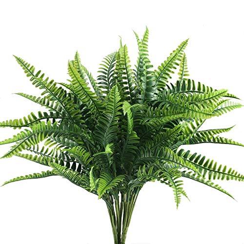 NAHUAA 4Pcs Helecho Artificial Arbusto Plantas de Plástico para Salón Mesa Patio Jardineria Jardin Valla Plantas Tropicales para Interior e Exterior