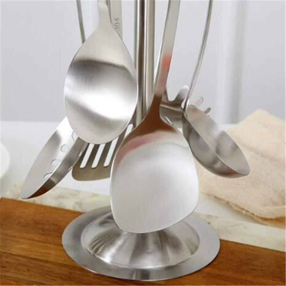 Lijado de utensilios de cocina de acero inoxidable, utensilios de cocina de acero inoxidable, cuchara y pala de 6 piezas de alta calidad: Amazon.es: Hogar