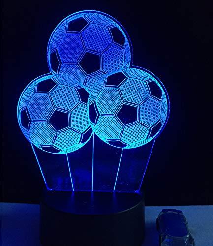 Voetbal, 3D-nachtlampje, led illusielamp met 7 kleuren, verandert en afstandsbediening – verjaardags- en kerstcadeaus voor kinderen, bedlampje, slaapkamerdecoratie