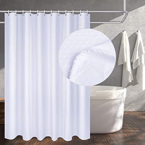 OTraki Duschvorhang aus Stoff, 183 x 198 cm, Weiß, strapazierfähig, mit 12 Ösen, dickes Polyester, beschwertes Webmuster, dekorativ, wasserabweisend, langer Badvorhang für Zuhause, Hotel