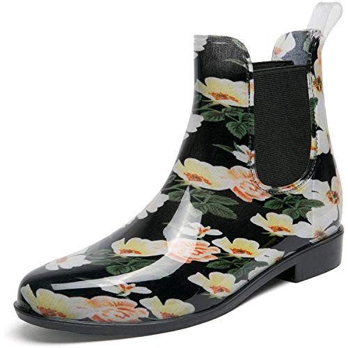 Acaine Rain Boots for Women,Print Waterproof Garden Shoes with Elastic-goring Rose Black