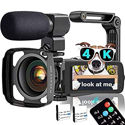 Video Camera, TLPUHU 4K Camcorder WiFi Ultra HD 48MP YouTube Camera for Vlogging, 3.1'' IPS Screen 16X Digital Zoom Video Camera with Microphone, 2 Batteries, Handheld Stabilizer(SD Card not Included) from TLPUHU