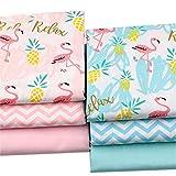 BYY 6 piezas 40 x 50 cm (15.7' x 19.7') Flamingo estampa tela de algodón para acolchar patchwork Fat Quarters costura suministros de manualidades