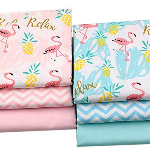 BYY 6 Stück 40 x 50 cm Flamingo-Drucke Baumwollstoff für Quilten, Patchwork, Nähen, Bastelbedarf.