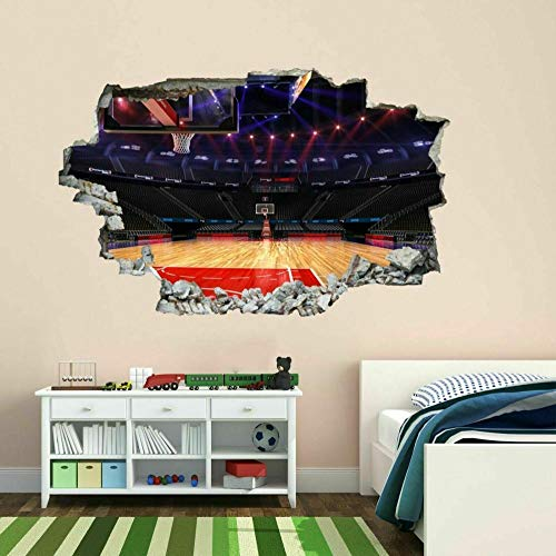 Pegatinas de pared Etiqueta engomada del arte de la pared de la cancha de baloncesto calcomanía mural dormitorio de los niños decoración de la oficina en casa mural - 50×70cm