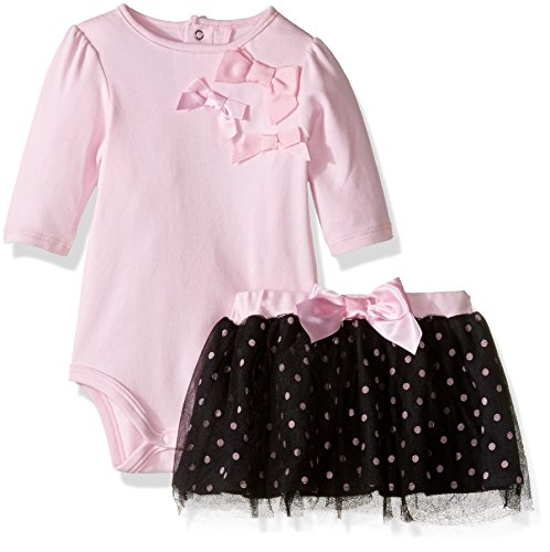 David Tutera Apparel Baby Girls' Bodysuit & Tulle Skirt Set, Ballet Dots, 12 Month