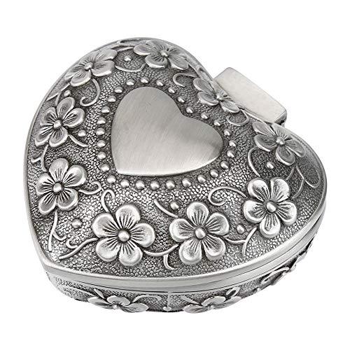 HERCHR Caja de joyería Vintage, Caja de baratija en Forma de corazón Caja de Regalo de Recuerdo de Cofre del Tesoro de Metal Antiguo para Mujeres y niñas Anillos Pendientes
