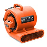 CFM Pro Air Mover Carpet Floor Dryer 3 Speed 1/3 HP Blower Fan with 2 GFCI Outlets - Stackable - Orange - Industrial Water Flood Damage Restoration