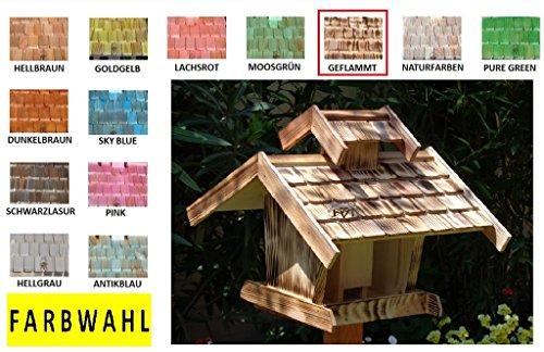Vogelhaus-futterhaus, BTV-X-VOVIL4-dbraun001 NEU PREMIUM Vogelhaus, Qualität Schreinerware 100% Massivholz – VOGELFUTTERHAUS MIT FUTTERSCHACHT-Futtersilo Futterstation Farbe braun dunkelbraun behandelt / lasiert schokobraun rustikal klassisch, MIT TIEFEM WETTERSCHUTZ-DACH für trockenes Futter - 7