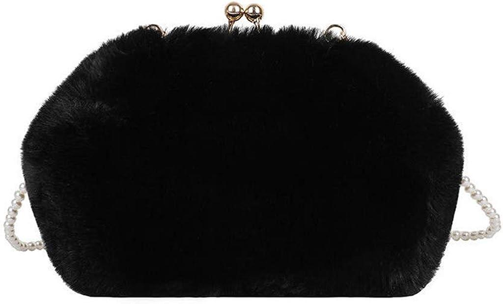 Women Faux Fur Japan Maker New Kiss Lock Evening Handbag Crossbody Shoulde Finally popular brand Purse