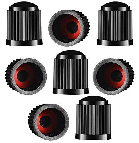 8 tapones de válvula para neumáticos, de plástico, para coche, con anillo de sellado para SUV, moto, camiones, bicicletas, color negro ✅