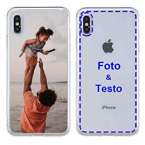 MXCUSTOM Cover Personalizzata per Apple iPhone X/XS, Custodia Personalizzate con Foto Immagine Testo Design Crea Le tue [Paraurti Morbido Trasparente+Piastra Posteriore Rigida] (CHT-CR-P1)