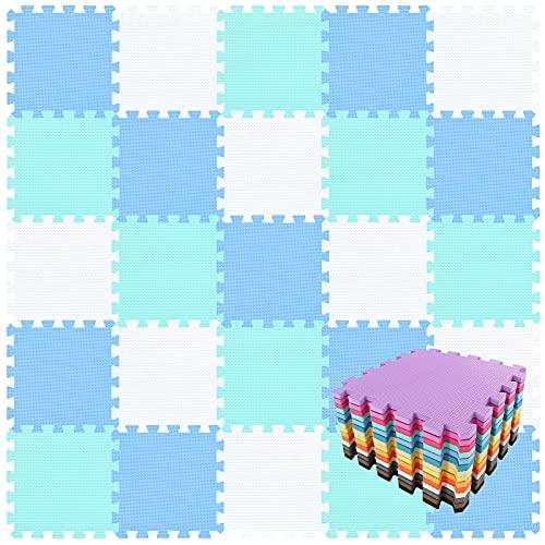 qqpp Tappeto Bambini Puzzle con Certificato CE in Morbido Gomma Eva | Tappeti da Gioco per Bambina | Tatami. 18 Pezzi (30*30*1cm), Bianco,Blu,Verde. QQC-AGHb18N