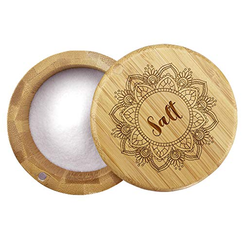 Totally Bamboo Salt Box, Bamboo Storage Box with Magnetic Swivel Lid, Mandala Flower Engraved on Lid