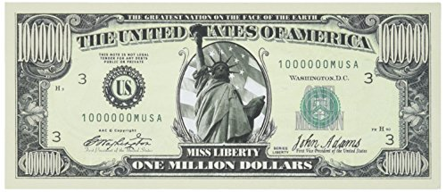 Set of 100 Traditional Million Dollar Bills-Very Realistic Looking-Same Size As Real Money- Fun Gift by American Art Classics