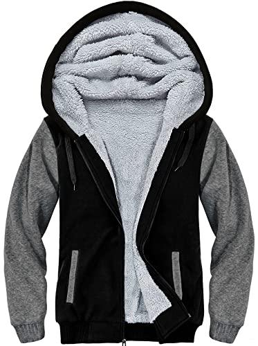 SwissWell Męska kurtka Feece Full Zip z kapturem, zimowa bluza z kapturem, Czarny-2, 3XL