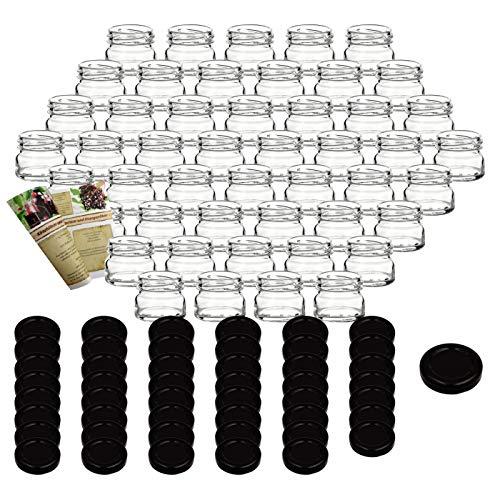 gouveo Set di 48 vasetti 'Mini' 30 ml con chiusura girevole TO 43 nero, vasetti di stoccaggio, vassoi di marmellata, conservazione vasetti, vasi di spezia, vasi invertenti