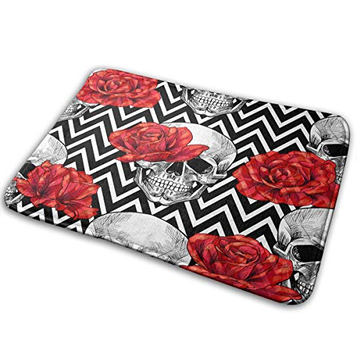Skull Head with Red Rose Bath Mat Image
