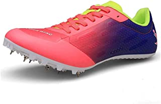 Unisex Track and Field Shoes Cricket Shoes Professional 7 Nails Spikes Running Training Shoes for Competition,Pink,43