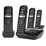 Gigaset AS690A Quattro - 4 Schnurlose Telefone mit Anrufbeantworter - großes, kontrastreiches Display - brillante Audioqualität - einstellbare Klangprofile - Freisprechfunktion - Anrufschutz, schwarz