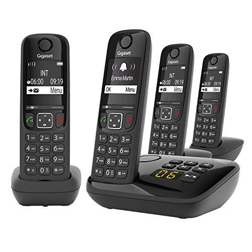Gigaset AS690A Trio 4 Schnurlose Telefone mit Anrufbeantworter , Display mit Jumbomodus , brillante Audioqualität , einstellbare Klangprofile , Freisprechfunktion , Anrufschutz, schwarz