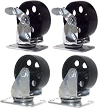 Set of 4 All Steel Swivel Plate Casters 2 no Brake and 2 with Brake Lock 3.5