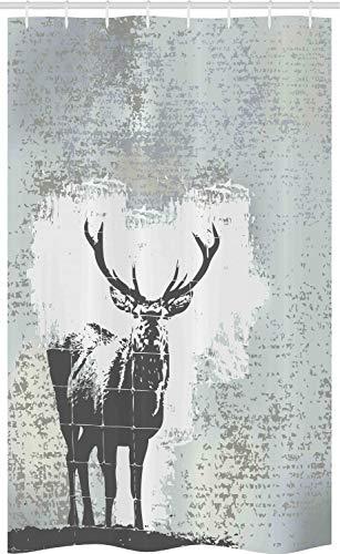 ABAKUHAUS Geweih Schmaler Duschvorhang, Hirsch Silhouette Grunge, Badezimmer Deko Set aus Stoff mit Haken, 120 x 180 cm, Grau schwarz