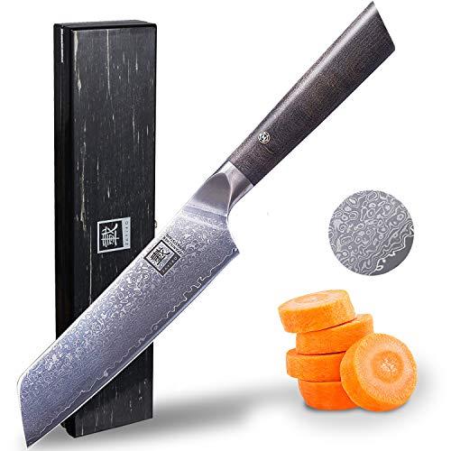 zayiko Professional Series Damastmesser Allzweckmesser 12,50 cm Klinge extrem scharf aus 67 Lagen I Damast Küchenmesser und Profi Kochmesser aus echtem japanischen Damaststahl mit Ahornholzgriff