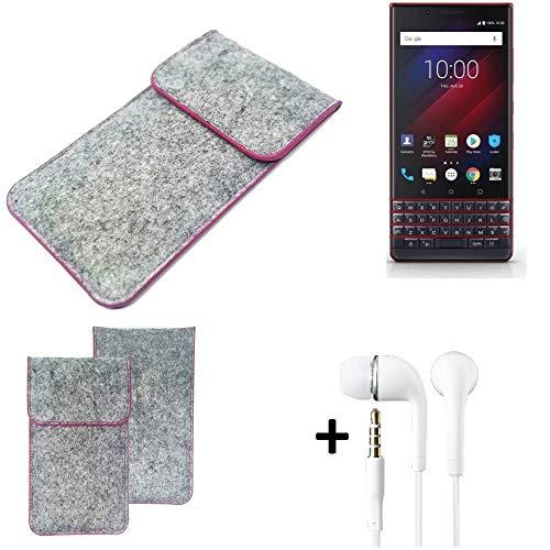 K-S-Trade Filz Schutz Hülle Für BlackBerry Key 2 LE Dual-SIM Schutzhülle Filztasche Pouch Tasche Hülle Sleeve Handyhülle Filzhülle Hellgrau Pinker Rand + Kopfhörer