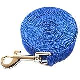 3 m / 6 m / 10 m / 15 m / 20 m / 30 m / 50 m - Corde en nylon pour chien - Longue corde de traction pour chien - Laisse pour dressage de chiot - 15 m - Bleu