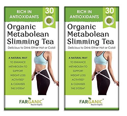 Farganic Organic Metabolean / Metalean Slimming Green Tea for Weight Loss Fast. Rich in Antioxidants, Improves Metabolism, Boost Immunity and Detox Body 30 Tea Bags (Pack of 2)