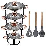 San Ignacio Bateria de cocina 8 piezas apta para induccion, Altea en acero inoxidable con set de 3 utensilios de cocina en silicona Daimiel, PK3241