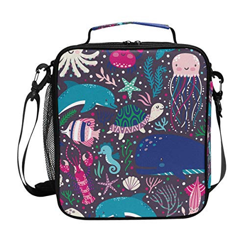 Sac à déjeuner isotherme Dauphin Baleine Océan Poisson Lunch Box Cooler Bandoulière Préparation Repas pour Femme Homme Enfant Garçon Fille Grand Tote Picnic School