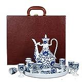LUYIYI Blu e Bianco Porcellana Insieme di Vino in Ceramica Set Cinese Antico antiquato antiquato Brocca di Vino Alto Bianco Vino Bianco Vassoio di Vetro