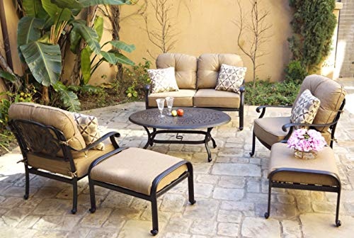Darlee Cast Aluminum Elisabeth 6-Piece Seating Group with Cushions and Pillows, Antique Bronze
